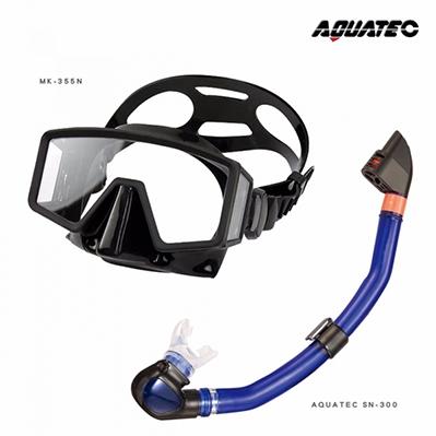 AQUATEC SN-300 乾式潛水呼吸管+MK-355N  無框貼臉側邊視窗潛水面鏡 優惠組-PG CITY