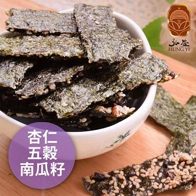 弘益傳香世家.海苔脆片-杏仁+五穀+南瓜子(40g/包,共三包)