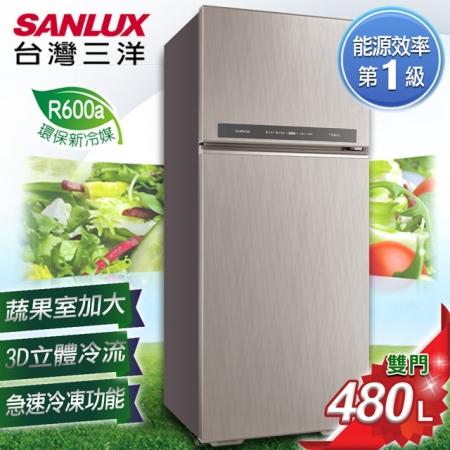 SANLUX 台灣三洋 480L 1級能效變頻雙門冰箱 SR-C480BV1B