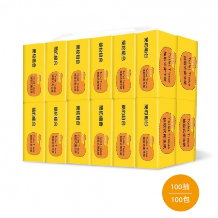 【簡約組合】優質抽取式衛生紙100抽*10包*10串/箱-黃