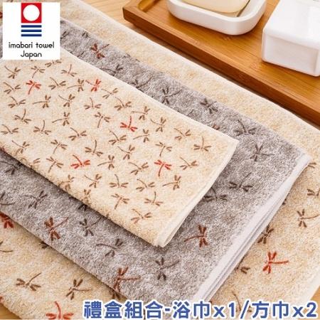 日本銷售第一100%純棉今治認證蜻蜓系列禮盒(浴巾1+方巾2)