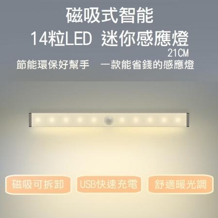 磁吸式智能14粒LED 迷你感應燈-21CM(白光/黃光)