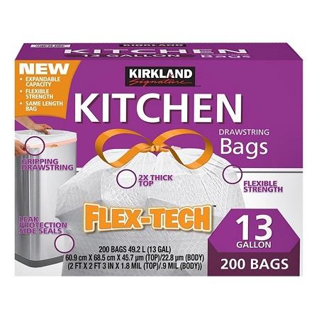 〔美式賣場〕Kirkland Signature 科克蘭 拉繩式垃圾袋 49.2公升(60.9 x 68.5cm) 200入