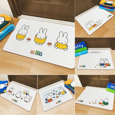 【MBM】台灣製12mm可水洗正版授權Miffy米菲兔款珪藻土地墊-尺寸:L