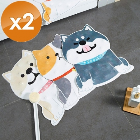【QiMart】卡通寵物造型大尺寸浴室防滑地墊-2入組
