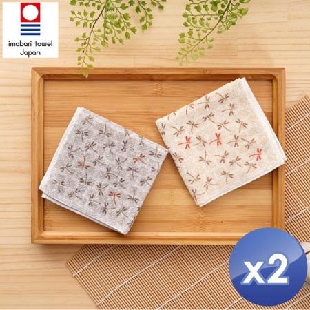 【藤高今治】日本銷售第一100%純棉今治認證蜻蜓系列方巾-2入組