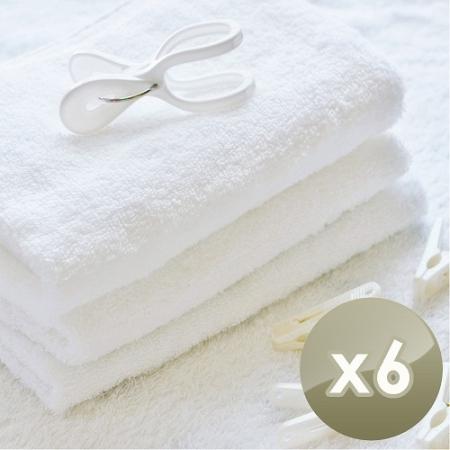 【HKIL-巾專家】台灣製純棉寬邊微重磅飯店毛巾-6入組