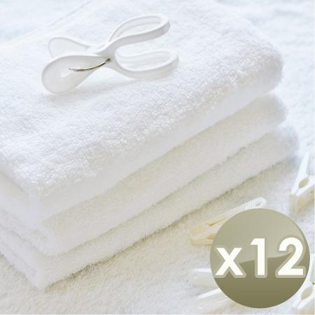 【HKIL-巾專家】台灣製純棉寬邊微重磅飯店毛巾-12入組