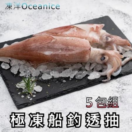 【凍洋Oceanice】極凍船釣透抽 5入組 (500g±10%(2尾)/包,共5包)