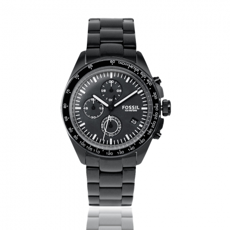 FOSSIL   三眼計時不鏽鋼手錶-黑鋼 CH3028