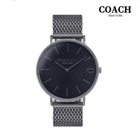 COACH l 經典大錶面C字LOGO米蘭帶手錶 灰CO14602145
