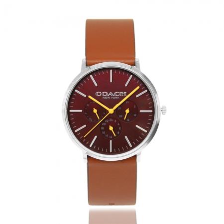 COACH l 優雅三眼多功能手錶 - 咖啡CO14602388