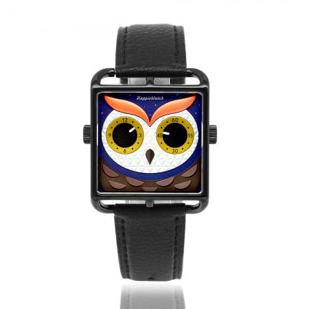 HappieWatch 上海設計師品牌 | 立體個性貓頭鷹 - 方形玫瑰金框 黑色皮革腕錶 AKAV39