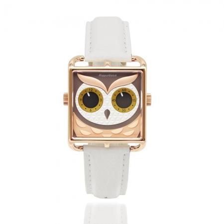HappieWatch 上海設計師品牌 | 立體個性貓頭鷹 - 方形玫瑰金框 米白色皮革腕錶 AKA053