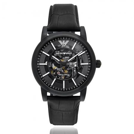 Emporio Armani 亞曼尼 | 原廠平輸精品手錶 透視心靈機械男錶 - 黑AR60008