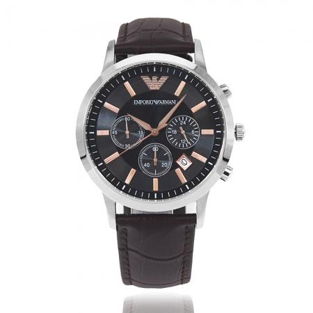 Emporio Armani 亞曼尼 | 原廠平輸精品手錶 經典三眼計時皮帶男錶 - 黑 AR2513