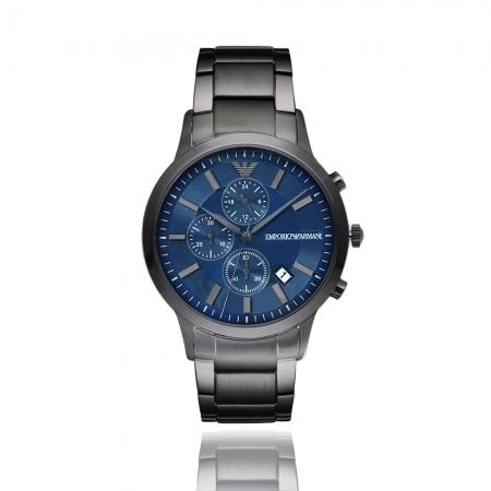 Emporio Armani 亞曼尼 | 原廠平輸精品手錶 優雅三眼計時鋼帶男錶 - 藍 AR11215