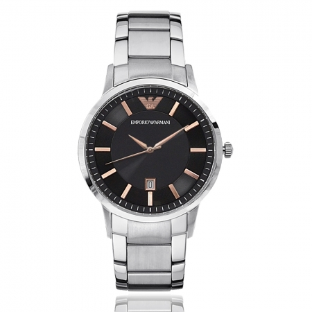 Emporio Armani 亞曼尼 | 原廠平輸精品手錶 經典素面鋼帶男錶 - 香檳x黑 AR11179