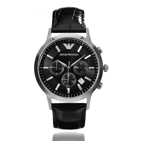 Emporio Armani 亞曼尼 | 原廠平輸精品手錶 經典三眼計時皮帶男錶 - 黑 AR2447