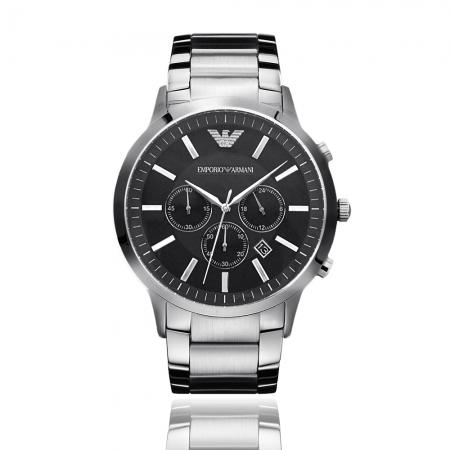 Emporio Armani 亞曼尼 | 原廠平輸精品手錶 經典三眼計時鋼帶男錶 - 白鋼 AR2460