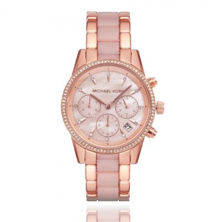 MICHAEL KORS美國原廠平行輸入手錶 | 璀璨晶鑽計時腕錶/ 玫瑰金MK6769