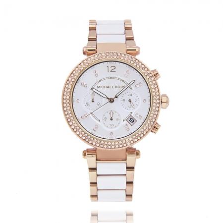 MICHAEL KORS美國原廠平輸手錶 | 晶鑽三眼腕錶 - 銀白面x玫瑰金水鑽邊框x不鏽鋼錶帶 / MK5774