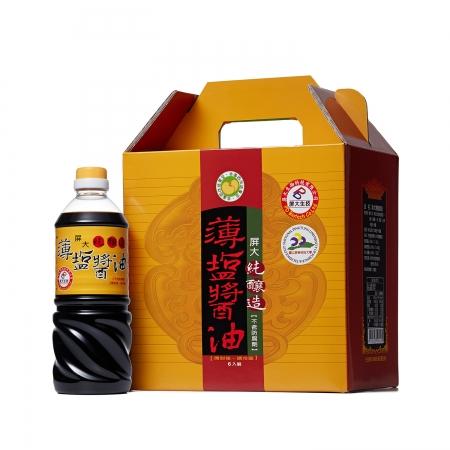 【屏大】薄鹽醬油710ml禮盒(6瓶/組)