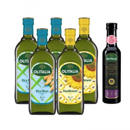 【Olitalia奧利塔】玄米油1000ml*3+葵花油1000ml*2+送摩典那巴薩米克醋250ml*1