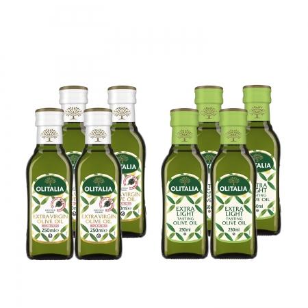 【Olitalia 奧利塔】特級初榨橄欖油250mlx4瓶+精緻橄欖油250mlx4瓶