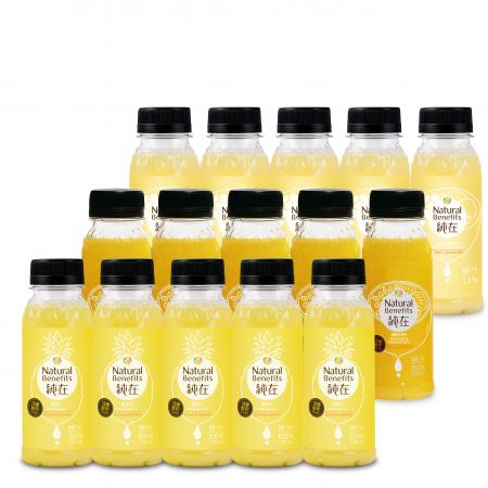 【純在】冷壓蔬果汁235ml 15入-午後時光組(鳳梨汁*5+蜂蜜檸檬柳橙汁*5+柳橙百香果*5)