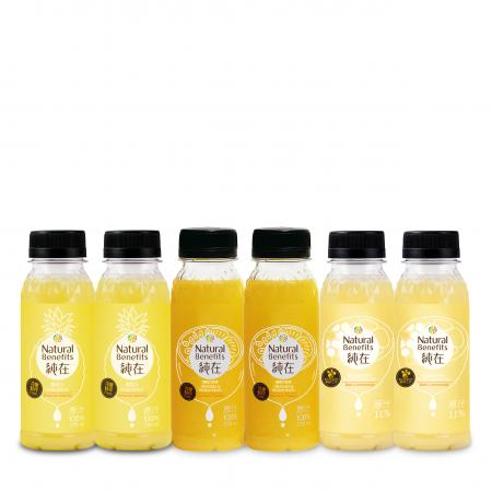 【純在】冷壓蔬果汁235ml 6入-午後時光組(鳳梨汁*2+蜂蜜檸檬柳橙汁*2+柳橙百香果*2)