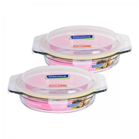 〔美式賣場〕Glasslock 玻璃烤盤含蓋4件組 圓形1700毫升