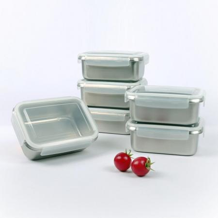 〔美式賣場〕Quasi 司扣爾不鏽鋼保鮮盒含蓋12件組 單個容量:1000毫升