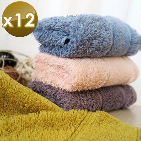 【HKIL-巾專家】簡約歐風蓬鬆加厚款純棉毛巾-12入組