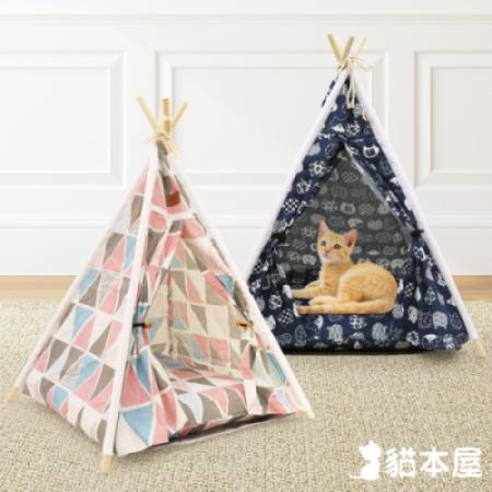 貓本屋 狗窩/貓窩 可拆洗四季通用 四角型亞麻寵物帳篷