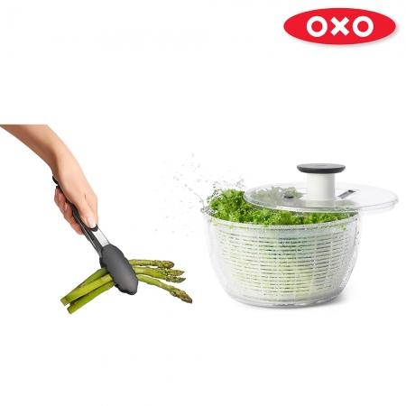 【OXO】元氣沙拉工具二件組(瀝水/脫水器+9吋餐夾)