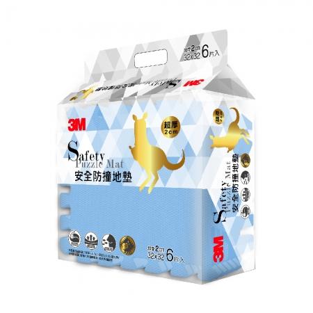 【3M】新升級兒童安全防撞地墊32cm-6片(礦石藍)