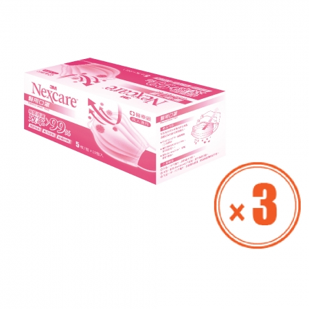 3M 雙鋼印 醫用口罩 7660 粉色3盒(一包5片,共計150片)