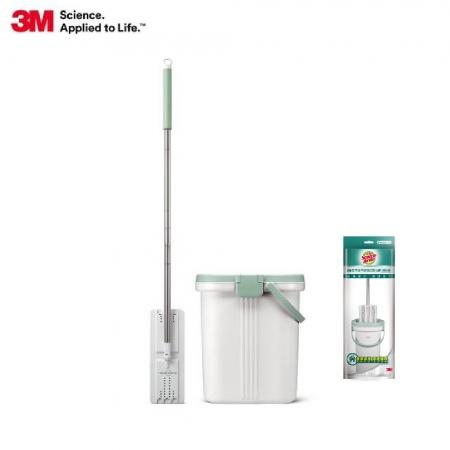 【3M】百利免手洗平板刮水桶-1桶1桿3布