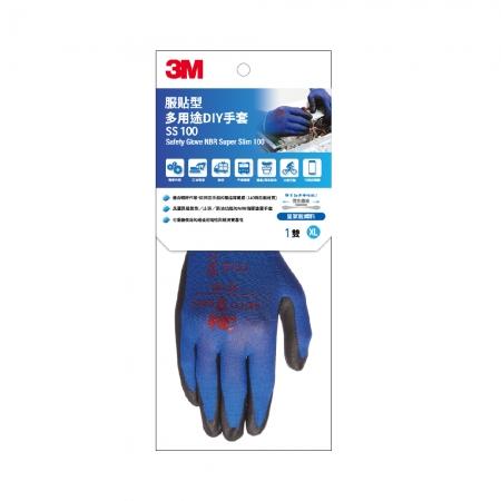 3M 服貼型 多用途DIY手套-SS100-XL-藍