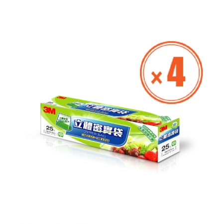 3M 立體密實袋 中型(25入)*4盒