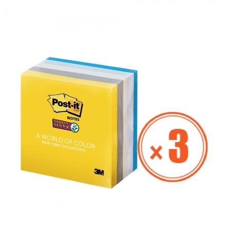 3M 便利貼 654-5SSNY-3包組 (1包5本,共15本) 7.6公分