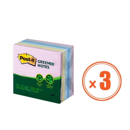 3M 便利貼 5416-RP-AP 環保便條紙磚 -3包組 (1包6本,共18本) 7.6公分