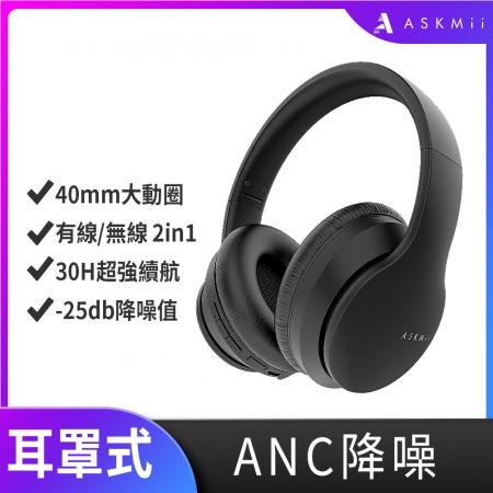 【ASKMii 艾斯迷】ANC主動降噪耳罩式藍牙耳機GH-1