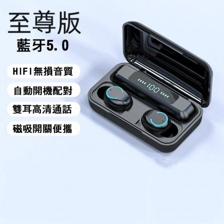 時尚巧型5.0版真無線藍牙雙耳式可通話運動耳機(黑色/白色)