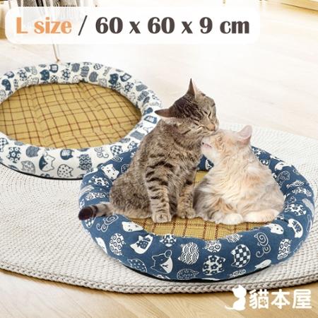 貓本屋 日式和風寵物涼蓆墊(L號/60x60cm)