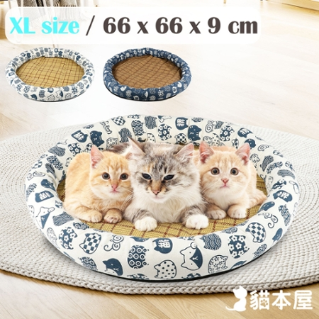 貓本屋 日式和風寵物涼蓆墊(XL號/66x66cm)
