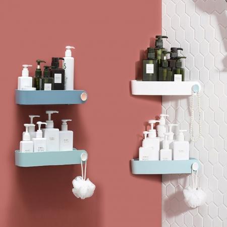 浴室無痕壁掛置物收納架 三角置物架/長型置物架 兩款任選