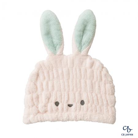 【CB JAPAN 日本】動物造型超細纖維浴帽-小白兔粉