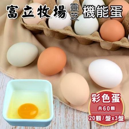 【富立牧場】靈芝機能蛋家庭號20顆x3盒,共60顆-彩色蛋